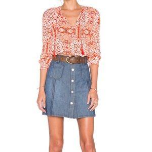 Sanctuary marianne front button snap jean skirt